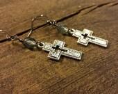Cross Earrings, Metal Cross Earrings, Silver Cross Earrings, Faith Jewelry, Drop Earrings, Dangle Earrings