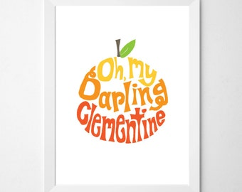 Clementine . Oh, My Darling Clementine ombre . printable download . baby gift . nursery decor . baby shower gift . baby room decor