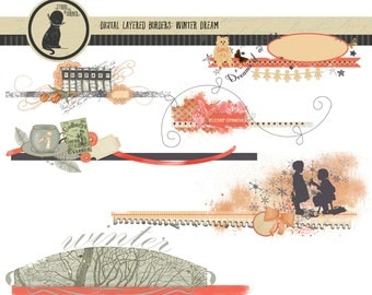 Six Digital Layered Borders for Scapbooking and Paper Projects