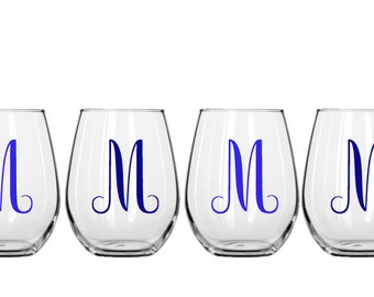 Set of 4  Stemless Decorative Wine Glasses