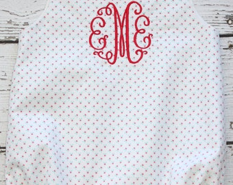 White Seersucker Bubble With Monogram Seersucker Sunsuit