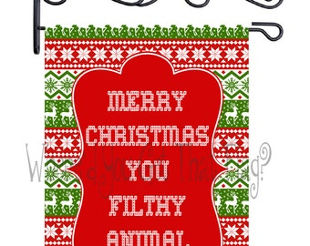 Custom Personalized Garden Flag Christmas Sweater Filthy Animal