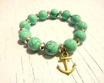 Anchor Bracelet, Turquoise Bracelet, Stretch Bracelet, Blue Beaded Bracelet, Turquoise Jewelry, Nautical Bracelet, Anchor Charm Bracelet
