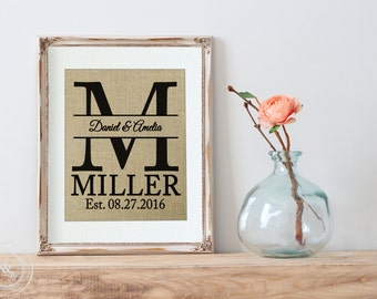 Personalized Engagement Gift, Monogrammed Engagement Gift, Husband Gift, Rustic Wedding, Anniversary Gift, Wedding Sign, Burlap Wedding Sign