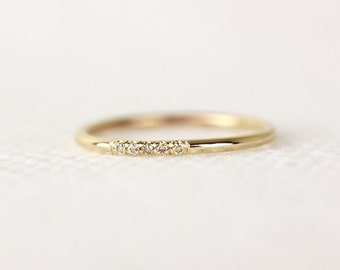 14k Solid Yellow Gold Champagne Diamonds Wedding Band In Pave SetHalf Eternity Diamond