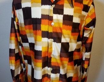 FREE  SHIPPING  1970 Men Nylon Abstract Shirt