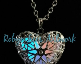 Blue, Red and Purple Glow In The Dark Filigree Heart Necklace on Silver Chain