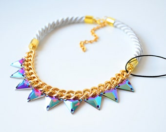 Gold White Rope Cord Triangles Rhinestone Statement Necklace