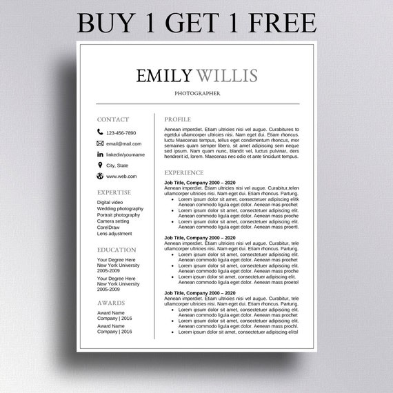 buy 1 get 1 free resume template cv template cover letter for word
