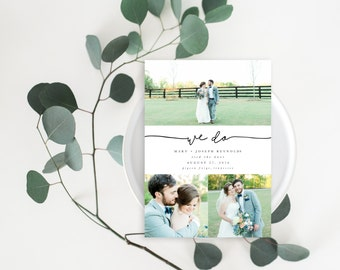 Printable Wedding Announcement Card - Elopement Announcement Card - Marriage Announcement Card - Wedding Photo Template | WA-006