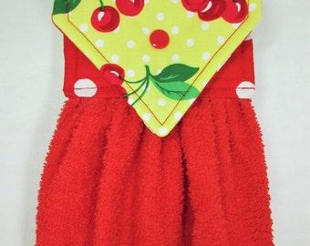 Cherry Hanging Hand Towel, Cherries Hanging Towel, Cherry Kitchen Towel, Cherry Decor, Red Hanging Kitchen Towel, Cherry Kitchen Gift