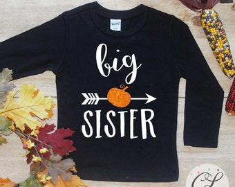 Big Sister Pumpkin Shirt / Halloween Announcement Shirt Halloween Big Sister TShirt Pregnancy Announcement Tee Sibling Shirt Bodysuit 184