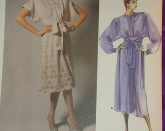 1980s 80 Vintage ALBERT NIPON Dress with Pleated Front in 2 Views UNCUT Vogue Designer Pattern 1692 Bust 32.5 Inches 83 Metric