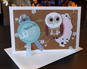 Birthday wish owl card, handmade card