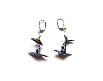 Origami Boucles d'oreilles Grues Bleu foncé