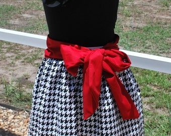 Alabama Crimson Tide Houndstooth Game Day A Line Skirt with Crimson Sash and Pockets Size XS, S, M, L, XL