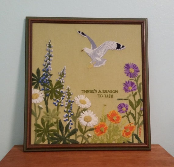 Crewel Embroidery Framed Art Seagull And Flowers