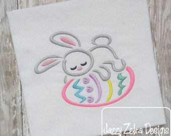 Sleeping Bunny Satin Stitch Outline Embroidery Design - Easter embroidery design - rabbit embroidery design - bunny embroidery design