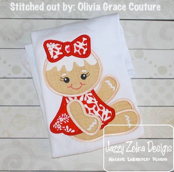 Gingerbread Girl 92 Appliqué embroidery Design - gingerbread girl appliqué design - Christmas Applique Design - ginger bread woman Appliqué