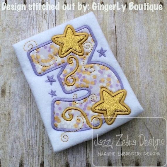 Three Stars Appliqué embroidery Design - 3rd birthday appliqué design - third birthday appliqué design - birthday appliqué - star appliqué