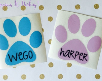 Pet Paw Print Name Decal