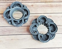 Wall Mirrors Pair Grey Gallery Wall Ornate Medallions Celtic Gothic Medieval Up Cycled Eco Friendly READY TO SHIP