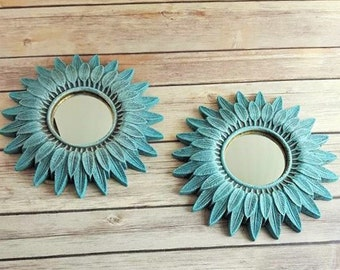 Wall Mirrors Pair Turquoise Gallery Wall Feather Sunburst Sunflower Up Cycled Eco Friendly READY TO SHIP