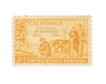 10 Unused Vintage Postage Stamps - 1950 3c California Statehood Centennial - Item No. 997