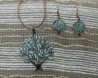 Tree of Life Necklace and Earrings set. Copper Tree of Life Jewelry set.  Free Shipping.