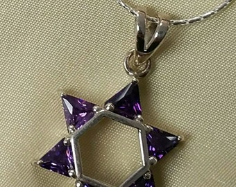 Purple Amethyst Star of David Necklace, Sterling Magen David with Purple triangle stones