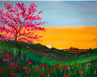 Meadow and Blossoms Acrylic painting