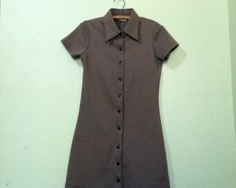 60's Brown Checkered Mini Dress