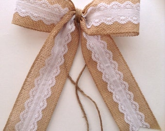 Burlap Wedding Decorative Bows / Wedding Decoration / Burlap Bows / Burlap White Lace Bows / Set of 6 / Handmade and Design in wired Ribbon