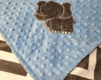 Minky Baby Blanket, Grey Chevron Minky, Baby Blue Dimple Dot, Elephant Appliqué Blanket