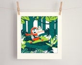 Little Red Screen Print Art Print. Little Red Riding Hood. Illustration. Limited Edition. Screenprint. Silkscreen.