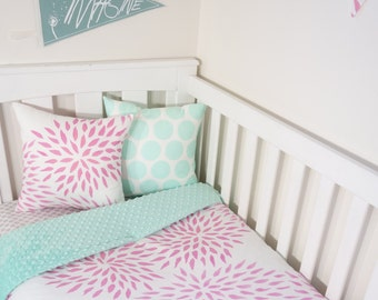 Pink abstract floral and mint minky nursery set