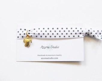 White Gray Polka Dots Gold Turtle Hair Tie