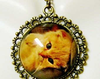 Orange cat pendant and chain - CAP25-009
