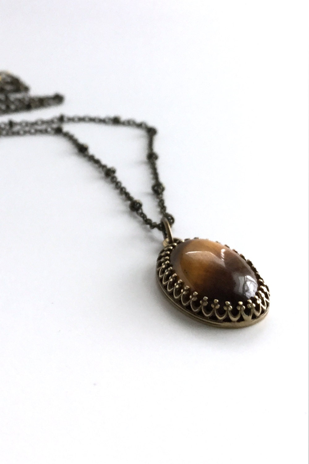 Tiger S Eye Necklace Oval Natural Stone Pendant Long