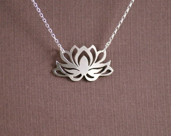 Lotus Flower Necklace - Handcut Sterling Silver Pendant