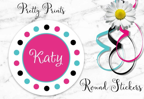 Personalized Stickers - Dots - Hot Pink - Aqua - Multi-colored - Set of 12 - Round Labels - Personalized Labels - Tags - Stickers