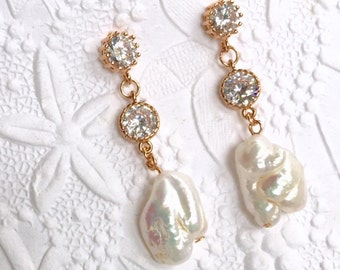 Bridal Pearl and 14K Rose Gold Filled CZ Earrings, Stunning White Baroque Freshwater Pearls, Cubic Zirconia Bezels,Sterling Silver also