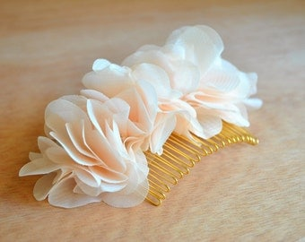 Creamy, Soft, Peach, Floral, Hair Comb: Blush, Chiffon, Bridal, Wedding, Head Piece