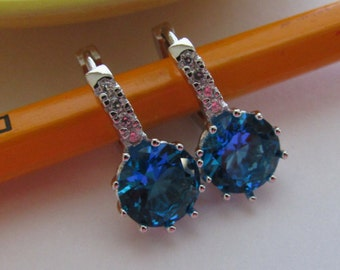 Blue Earrings,Dangle Blue Earrings,Cyrstal Rhinestone Earrings,925 Dangle Earrrings, Light Blue Earrings