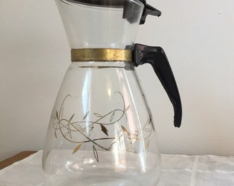 1960s Coffee Carafe Tricolette Glass Flameproof 4 Cup Coffee Pot Mid Century Home Kitchen Decor