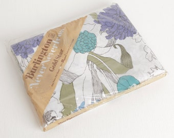Vintage Floral Twin Flat Sheet, Burlington Original Packaging, Purple Blue Avocado