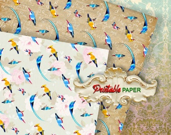 "EDEN BIRDS - 2 SHEETs Printable 12""x12""inch size wrapping paper for Scrapbooking, Creat - Download and Print"