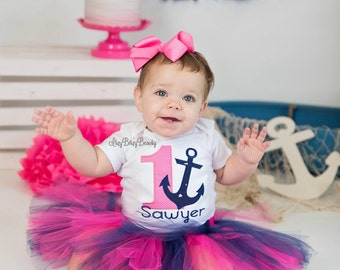 Girls Anchor Birthday Outfit - Girls First Birthday Outfit - Girls Anchor Pink Navy Shirt - Personalized Birthday Shirt - Baby Girls First
