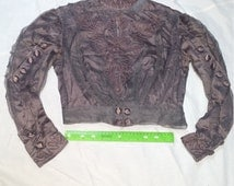 Edwardian Jacket Blouse Top 1900s Womens Fashion Embroidered Grey Tulle and Silk Edwardian Ladies Wear Authentic Period Clothing, distressed