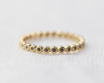 Black diamond eternity ring in solid 14k gold, Black diamond ring 18k gold,  Black diamond eternity wedding band, dal-r104